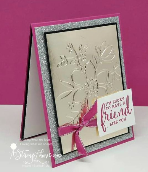 Learn how easy it is to emboss Stampin' Up!'s foil sheets to make a gorgeous card like this one! www.AStampAbove.com
