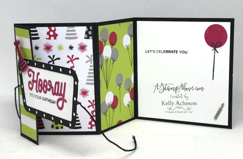 VIDEO TUTORIAL - You'll find all the details for this fun fold card and several other cards along with a video tutorial when you click on the photo. Join me on Sunday nights at 7 pm central time for a Facebook Live stamping class - there are PRIZES TOO! www.AStampAbove.com