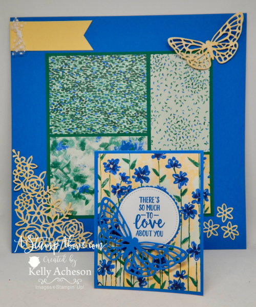 VIDEO TUTORIAL - Learn how to make this super easy card and matching scrapbook page with the gorgeous GARDEN IMPRESSIONS DESIGNER SERIES PAPER and the ABSTRACT IMPRESSIONS bundle - NEW from Stampin' Up! You'll find a video tutorial and all the dimensions/details when you click the photo and go to my blog. www.AStampAbove.com