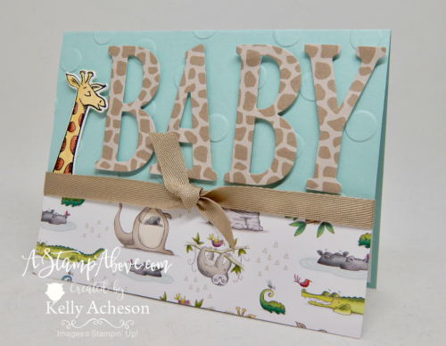 Learn how to make this adorable baby card and where you can order all the supplies to make  your own. www.AStampAbove.com