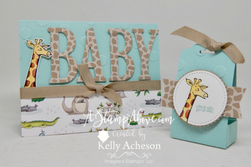 Learn how to make this adorable baby card & party favor and where you can order all the supplies to make  your own. Click the photo to see the details. www.AStampAbove.com