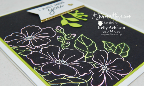 EXCLUSIVE FOR AUGUST! The Color Your Seasons stamp set is only available during the month of August! You'll find a VIDEO TUTORIAL to show you how to make this pretty card using embossing powder and Stampin' Blend Markers! www.AStampAbove.com