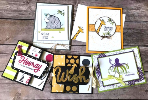 VIDEO TUTORIAL - You'll find all the details and a video tutorial for all of these cards when you click on the photo. Join me on Sunday nights at 7 pm central time for a Facebook Live stamping class - there are PRIZES TOO! www.AStampAbove.com