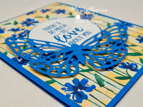 VIDEO TUTORIAL - Learn how to make this super easy card with the gorgeous GARDEN IMPRESSIONS DESIGNER SERIES PAPER and the ABSTRACT IMPRESSIONS bundle - NEW from Stampin' Up! You'll find a matching scrapbook page when you click the photo and go to my blog. www.AStampAbove.com