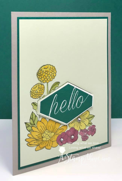 Learn how to make this easy card using the Accented Blooms stamp set and matching punch. www.AStampAbove.com