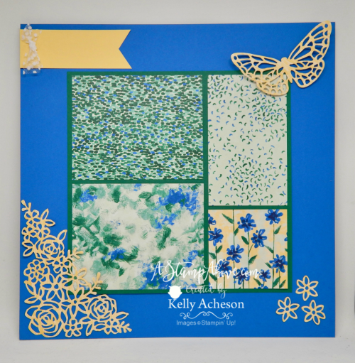 VIDEO TUTORIAL - Learn how to make this super easy card with the gorgeous GARDEN IMPRESSIONS DESIGNER SERIES PAPER and the ABSTRACT IMPRESSIONS bundle - NEW from Stampin' Up! You'll find a matching card when you click the photo and go to my blog. www.AStampAbove.com