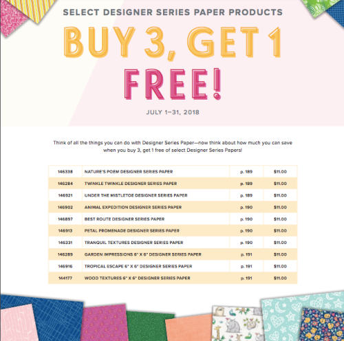 Get a pack of Designer Series Paper FREE when you buy 3 - July 1-31st!!! Click photo for more details. www.AStampAbove.com