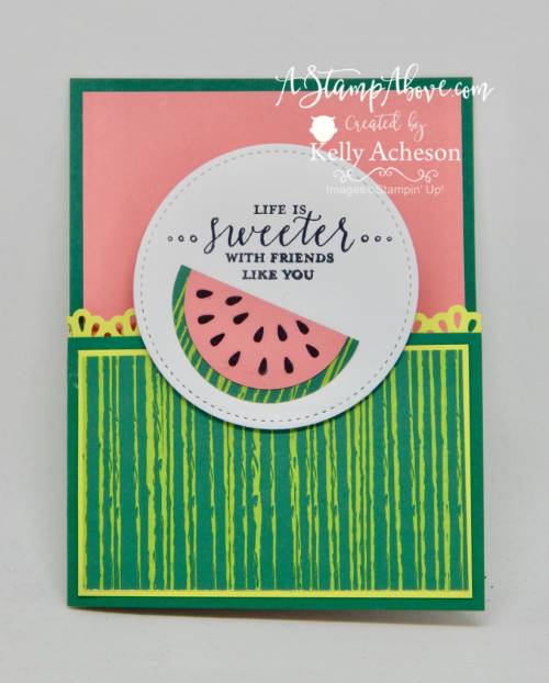 Learn how to make this adorable watermelon with punches! You can order any of the products used for this card in my online store. All details on my blog when you click the photo. www.AStampAbove.com