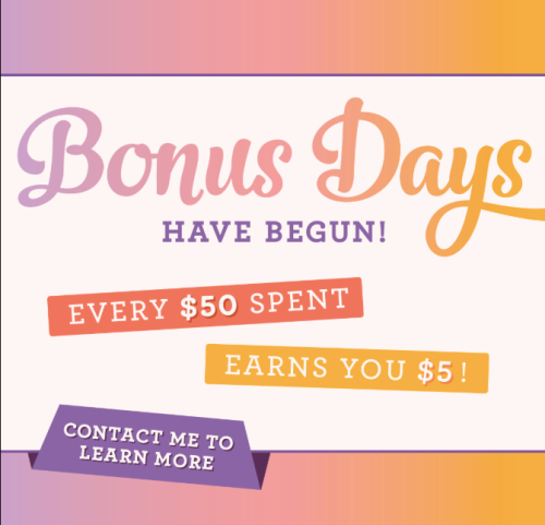 BONUS DAYS! Get a $5 coupon for every $50 you order in August to be redeemed in September! Click for all the details! www.AStampAbove.com