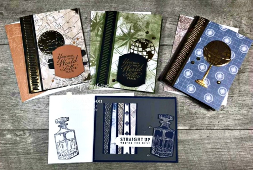 4 GREAT MAN CARDS with Whiskey Business and Beautiful World stamp sets by Stampin' Up! VIDEO TUTORIAL - Click for details - ️SHOP ️ - ORDER STAMPIN' UP! PRODUCTS ON-LINE. Purchase the $99 Starter Kit & enjoy a 20% discount! Tons of paper crafting ideas & FREE Online Classes. www.AStampAbove.com