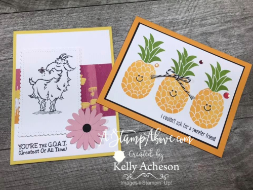 Way to Goat & Cute Fruit VIDEO TUTORIAL - Click for details - ️SHOP ️ - ORDER STAMPIN' UP! PRODUCTS ON-LINE. Purchase the $99 Starter Kit & enjoy a 20% discount! Tons of paper crafting ideas & FREE Online Classes. www.AStampAbove.com
