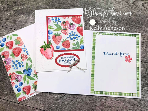 Learn how to make this quick and easy card with the SWEET STRAWBERRY BUNDLE by Stampin' Up! Video Tutorial available www.AStampAbove.com