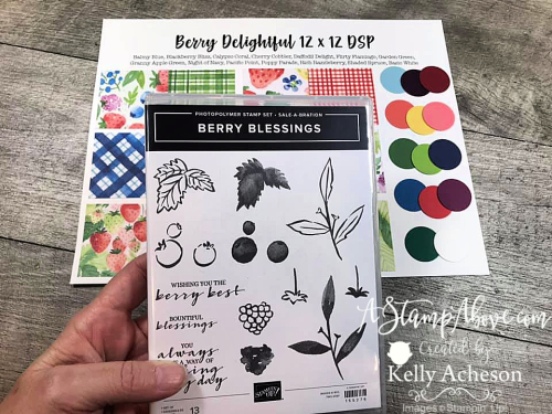 Learn how to make a quick and easy card with the BERRY BLESSINGS (FREE) BUNDLE by Stampin' Up! Video Tutorial available www.AStampAbove.com