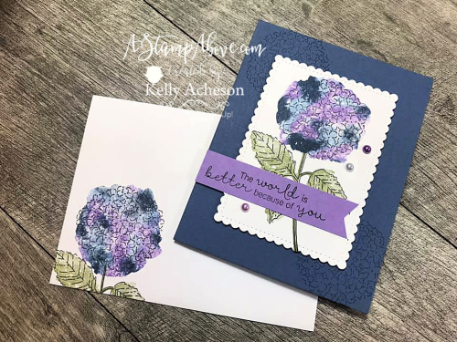 Learn how to make this beautiful Hydrangea Haven card using the BABY WIPE TECHNIQUE - VIDEO TUTORIAL - www.AStampAbove.com