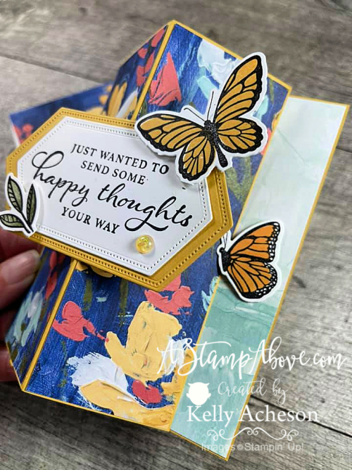 Learn how to make a vertical easel card like this one with the FLOATING & FLUTTERING BUNDLE! Click for video tutorial. www.AStampAbove.com