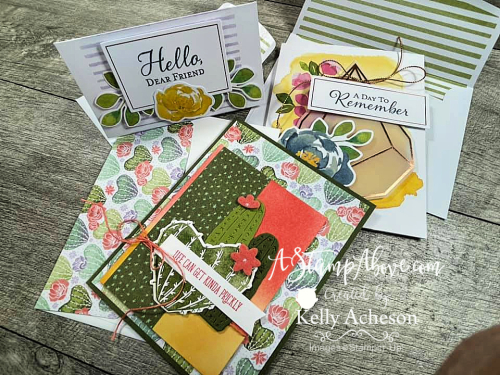 Learn all about the FLOWERING CACTUS MEDLEY & HELLO DEAR FRIEND CARD KIT by Stampin' Up! Click for Video tutorial. www.AStampAbove.com