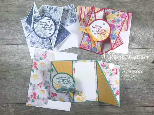 TWISTED GATE FOLD - learn how to make these fun cards - VIDEO TUTORIAL - Click for details - ️SHOP ️ - ORDER STAMPIN' UP! PRODUCTS ON-LINE. Purchase the $99 Starter Kit & enjoy a 20% discount! Tons of paper crafting ideas & FREE Online Classes. www.AStampAbove.com