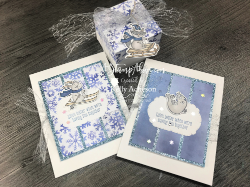 Learn how to make this fun card and matching gift box with the FREEZIN' FUN bundle by Stampin' Up! VIDEO TUTORIAL www.AStampAbove.com KELLY ACHESON