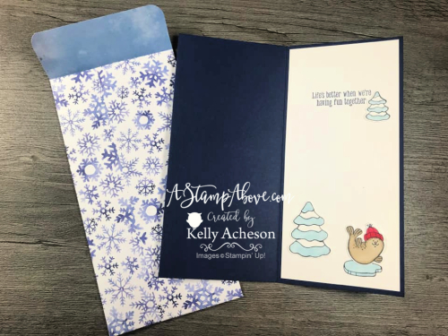 Learn how to make a fun SLIMLINE card with Freezin' Fun by Stampin' Up! VIDEO TUTORIAL www.AStampAbove.com KELLY ACHESON