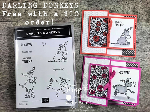 Learn how how to make this easy fun fold and get the DARLING DONKEY stamp set for FREE - VIDEO TUTORIAL - Click for details! www.AStampAbove.com