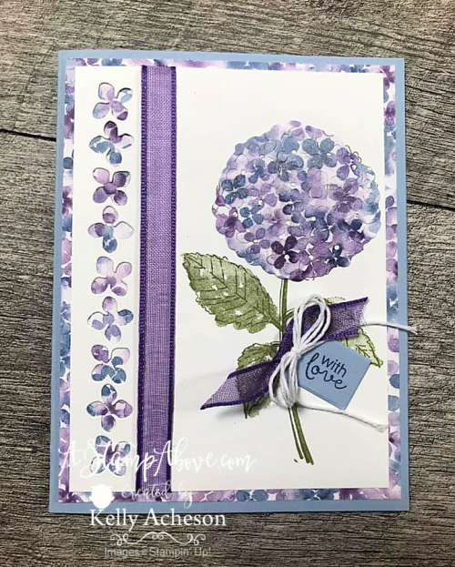 Learn how to make two cards with this beautiful Hydrangea Haven suite - one using the BABY WIPE TECHNIQUE - VIDEO TUTORIAL - www.AStampAbove.com