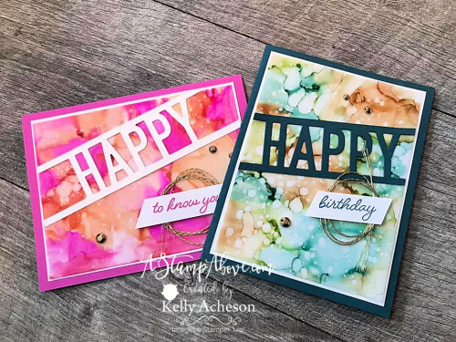 SO MUCH HAPPY using Stampin' Blends with Alcohol and Water Painters - this is so fun! Click for a video tutorial. www.AStampAbove.com