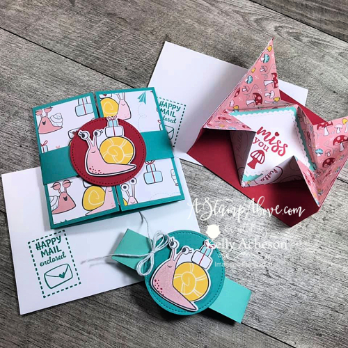 Love this origami pop up card - so easy. Click for video tutorial. Snailed It by Stampin' Up! www.AStampAbove.com