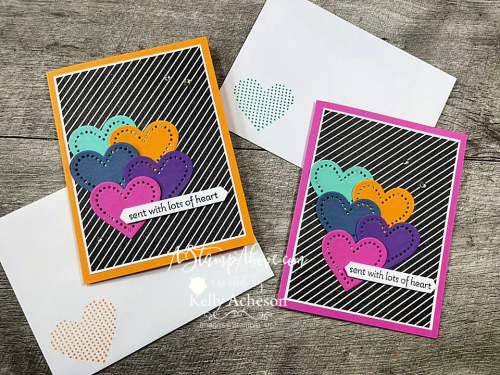 Learn how easy it is to make a colorful card like this with the LOTS OF HEART bundle by Stampin' Up! Click for a video tutorial. www.AStampAbove.com