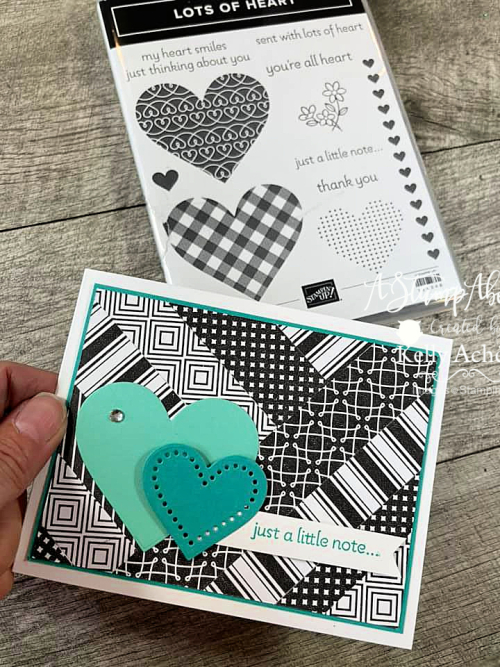 Learn how easy Chevron Paper Piecing is to make with your designer paper! LOTS OF HEART bundle by Stampin' Up! Click for a video tutorial. www.AStampAbove.com