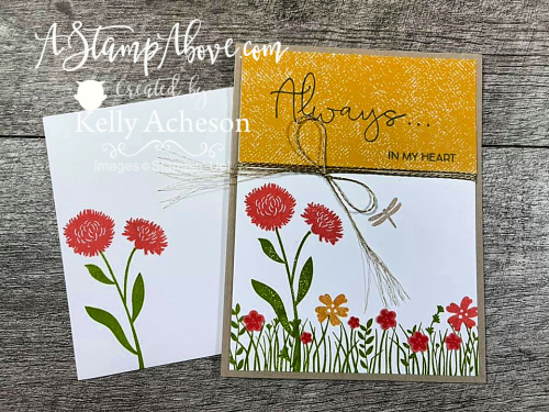 Field of Flowers - Click for video tutorial. Join me once a month for a LIVE card class with a little bingo sass! www.AStampAbove.com