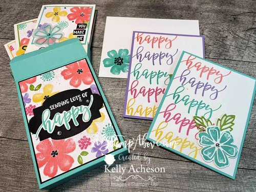 Learn how to make this adorable card and a box to fit NOTE CARDS & ENVELOPES with the PRETTY PERENNIALS BUNDLE by Stampin' Up! www.AStampAbove.com