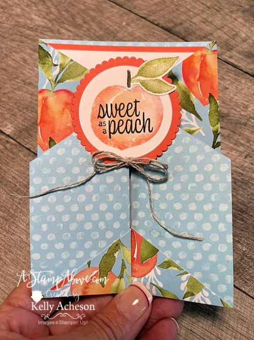 VIDEO TUTORIAL - click for details and learn how to make this fun fold with the YOU'RE A PEACH suite from Stampin' Up! www.AStampAbove.com