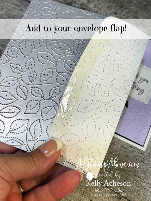Check out my pretty card to go with this envelope! Color & Contour Bundle with Stitched Greenery Die for the win! Click for a video tutorial. www.AStampAbove.com