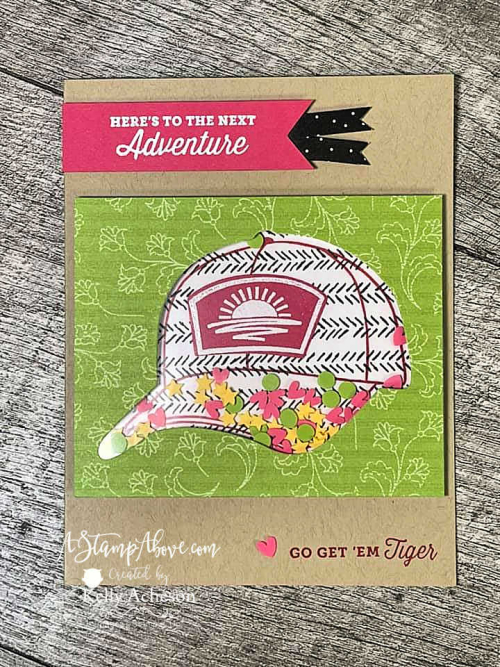 Learn how to make this fun shaker card with the HATS OFF BUNDLE by Stampin' Up! www.AStampAbove.com
