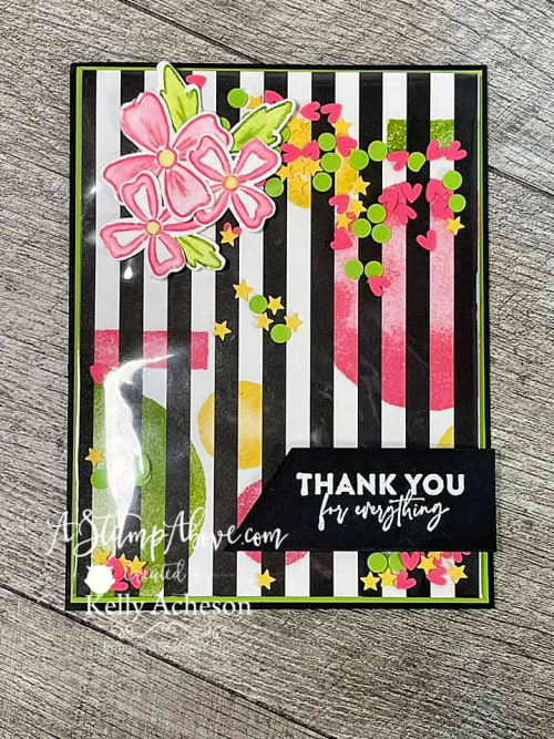 Learn how to make this fun shaker card with the FLOWERS OF FRIENDSHIP BUNDLE & WATERCOLOR SHAPES by Stampin' Up! www.AStampAbove.com