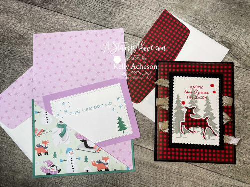 VIDEO TUTORIAL: Learn how to make a DSP POCKET CARD - so fun and easy using the PENGUIN PLACE BUNDLE & PEACEFUL DEER BUNDLE - new from Stampin' Up! www.AStampAbove.com