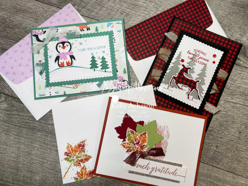 VIDEO TUTORIAL: Learn how to make all three of these cards - so fun and easy using the PENGUIN PLACE BUNDLE, PEACEFUL DEER BUNDLE  & GORGEOUS LEAVES BUNDLE - ALL new from Stampin' Up! www.AStampAbove.com
