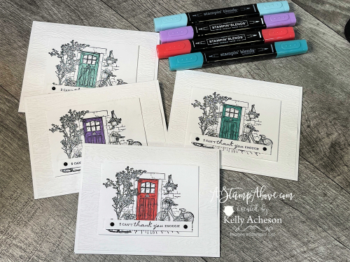 Get all the details in a video tutorial showing you how to make these clean & crisp cards with the FREE FEELS LIKE HOME stamp set by Stampin' Up! Click for details. www.AStampAbove.com
