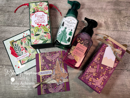 Learn how to make these fabulous Bath & Body Soap boxes and matching cards - VIDEO TUTORIAL - www.AStampAbove.com Beauty of Tomorrow & Christmas Season by Stampin' Up!