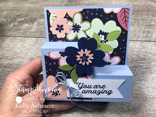 Learn how to make this STEP FOLD card. Video tutorial included. www.AStampAbove.com