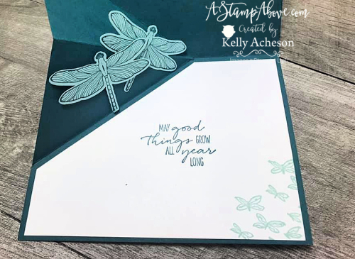 Learn how to make this ANGLE POP UP CARD with the DRAGONFLY GARDEN bundle from Stampin' Up! - VIDEO TUTORIAL - www.AstampAbove.com
