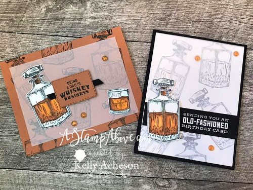 Learn how to make these vellum overly card with the Whiskey Business stamp set by Stampin' Up! www.AStampAbove.com