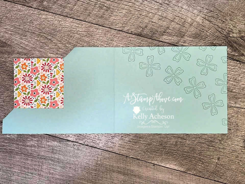 Learn how to make this fun HORIZONTAL CORNER FLIP card with the FLOWERS OF FRIENDSHIP BUNDLE by Stampin' Up! www.AStampAbove.com