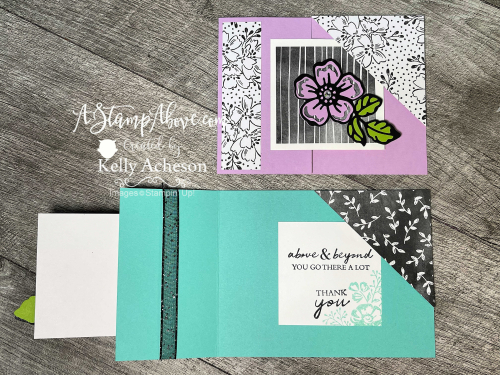 Learn how to make this beautiful Corner Tuck Fun Fold card with the SHADED SUMMER bundle by Stampin' Up! www.AStampAbove.com