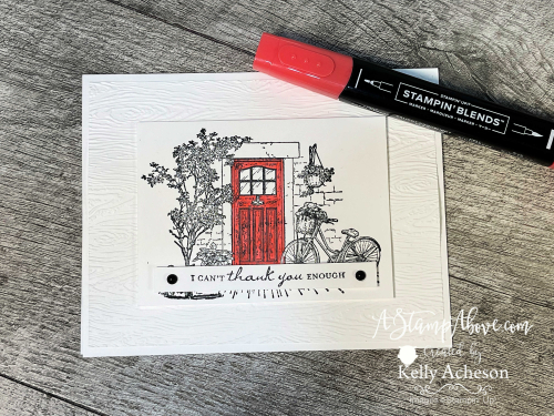 Get all the details in a video tutorial showing you how to make this clean & crisp card with the FREE FEELS LIKE HOME stamp set by Stampin' Up! Click for details. www.AStampAbove.com