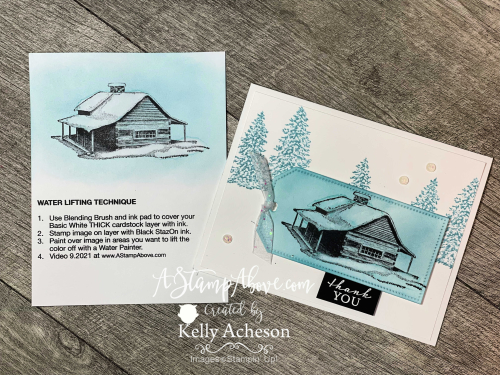 Check out the details for my ONLINE TECHNIQUE CLUB and learn how to use the Water Lifting Technique using the Peaceful Cabin stamp set by Stampin' Up! www.AStampAbove.com