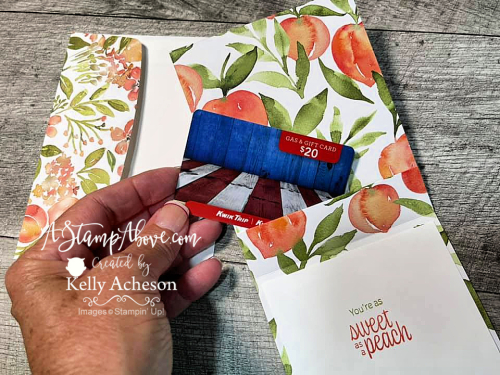 Learn how to make an easy gift card holder using the YOU'RE A PEACH SUITE from Stampin' Up! www.AStampAbove.com