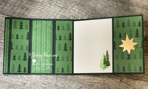 Click for VIDEO TUTORIAL - Learn how to make this BAY WINDOW fun fold with the PEACEFUL DEER BUNDLE by Stampin' Up! www.AStampAbove.com
