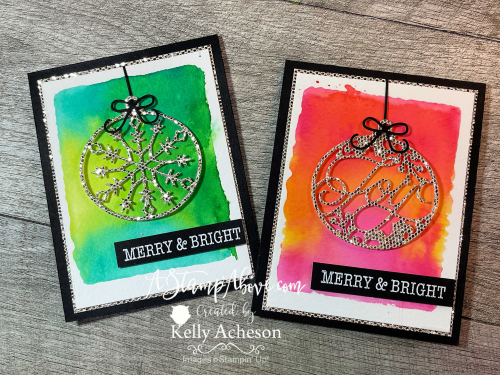 BRIGHT BAUBLES Learn how easy this WATERCOLOR technique is with an acrylic block, ink and water! FREE video tutorial included. www.AStampAbove.com