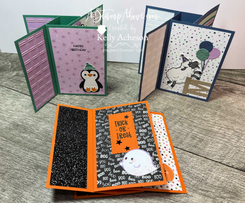 These PINWHEEL CARDS are an easy fun fold! Watch my video tutorial and get the dimensions on my blog: www.AStampAbove.com CUTE HALLOWEEN, PENGUIN PLACE & COUNTING SHEEP by Stampin' Up!